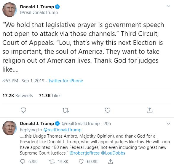 After Federal Court Blocks Democrat 'Crusade' - Trump Thanks